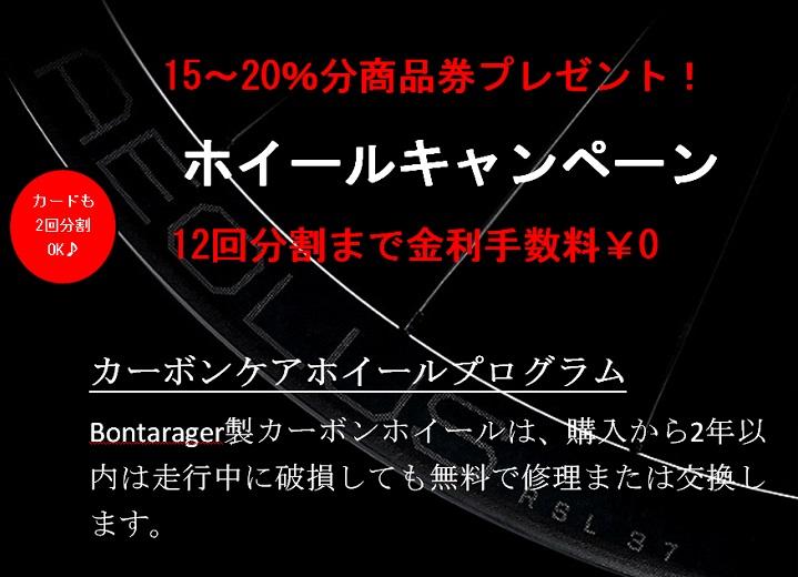 【カーボンホイール秋のキャンペーン】15~20%分商品券プレゼント!12回分割手数料も¥0(10月末まで)